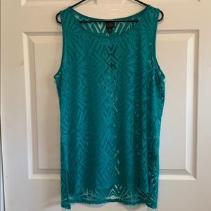 Turquoise and sheer tank top